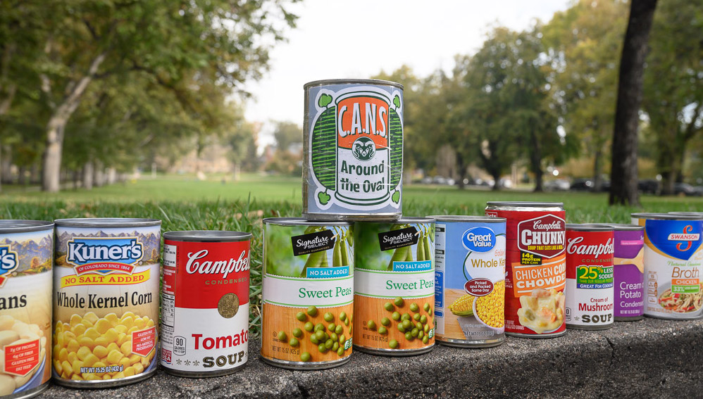 Cans of food along the Oval