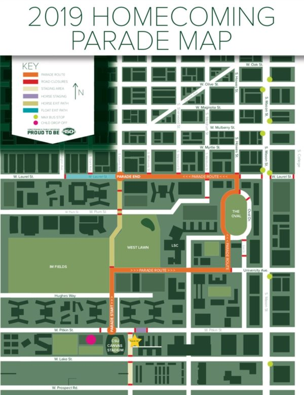 2019 Homecoming Parade route map
