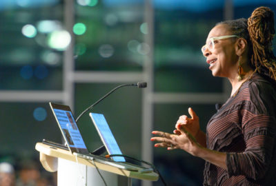 Kimberlé Crenshaw, a professor of law at UCLA and Columbia Law School, delivers a keynote presentation on intersectionality at the 2019 Diversity Symposium at Colorado State University.October 14, 2019