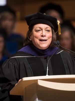 Joyce McConnell speaking in regalia