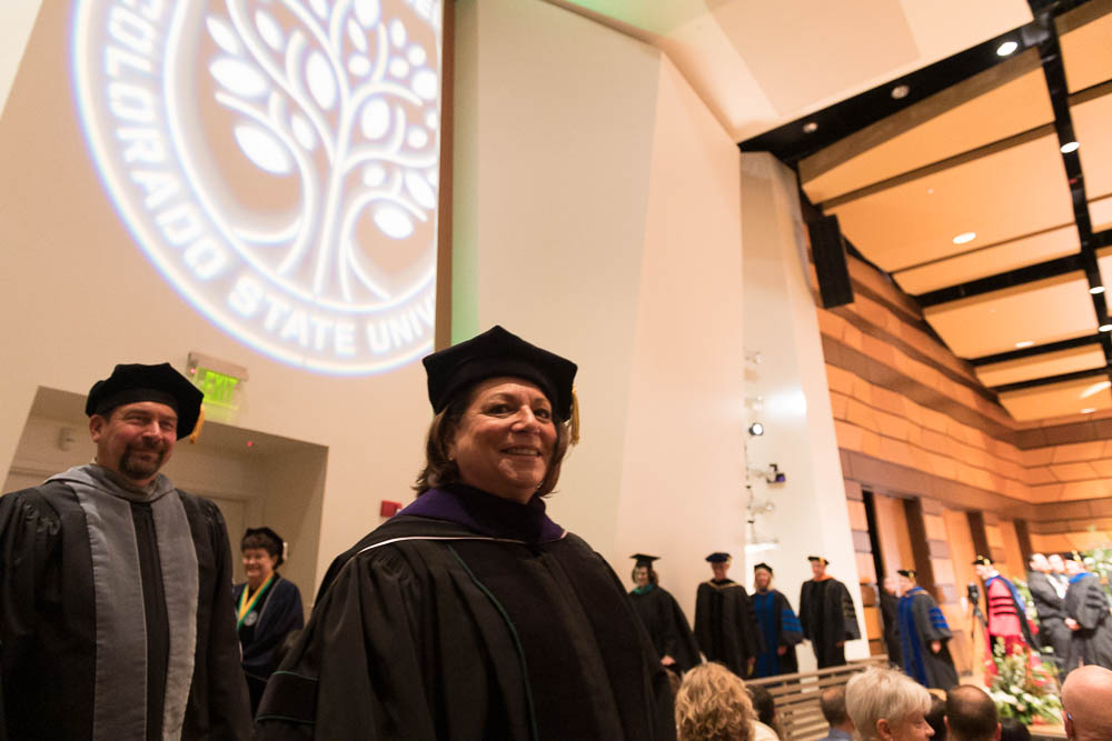 Joyce McConnell leads recessional from Investiture