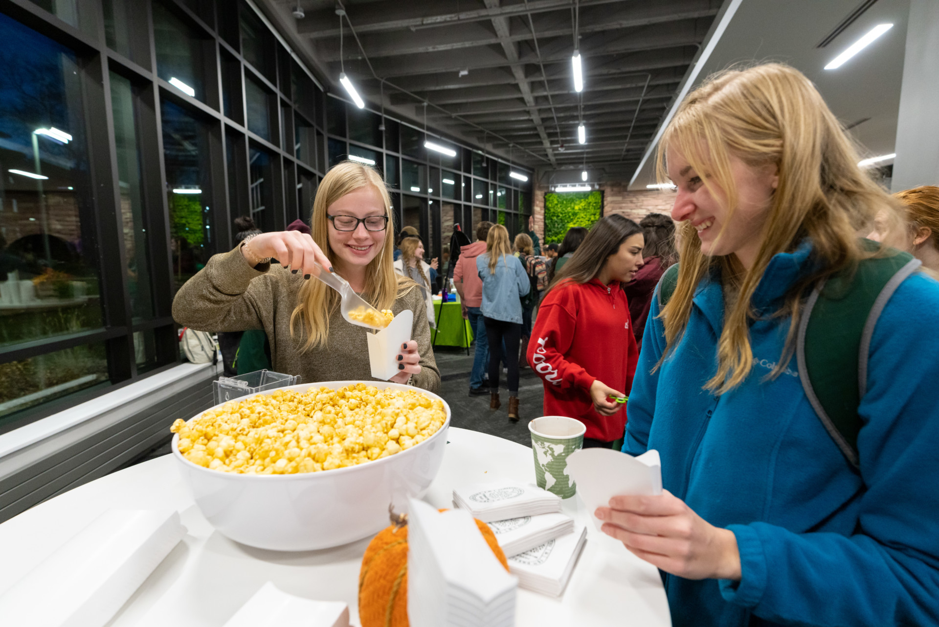 Students eating popcorn