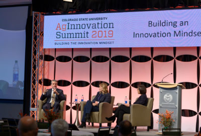 "Angela Ichwan, Senior Director Technical Lead, The Annex by Ardent Mills, moderates a Leadership Discussion on Building an Innovation Mindset, featuring panelists Jodi Benson, Chief Innovation Technology and Quality Officer, General Mills, and Florian Schattenmann, Chief Technology Officer and Vice President for Innovation Research and Development, Cargill, at the 2019 AgInnovation Summit, ""Building the innovation mindset."" December 6, 2019"