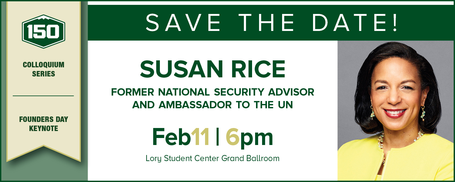 Save the date graphic for Susan Rice