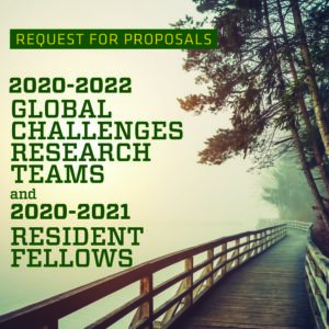 a poster from SoGES with a call for proposals for research teams and resident fellows