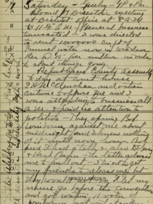 Page from Delph Carpenter's diary