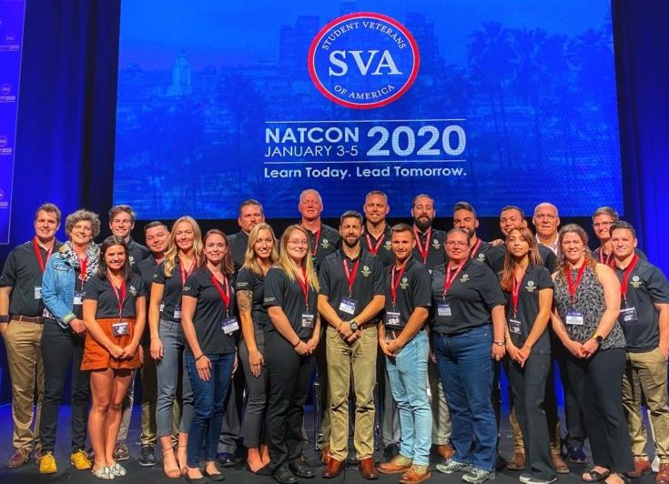 Student veterans accepting SVA Chapter of the Year