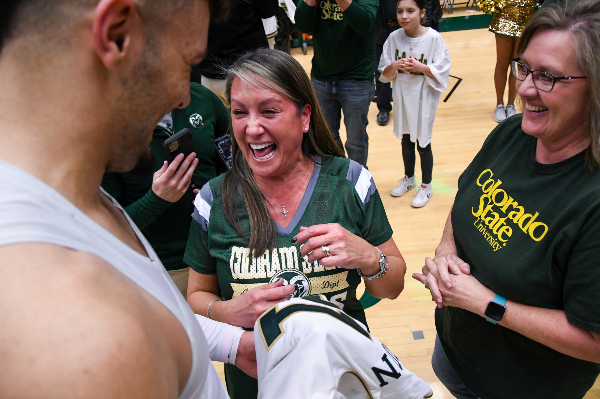 Cancer survivor with basketball player