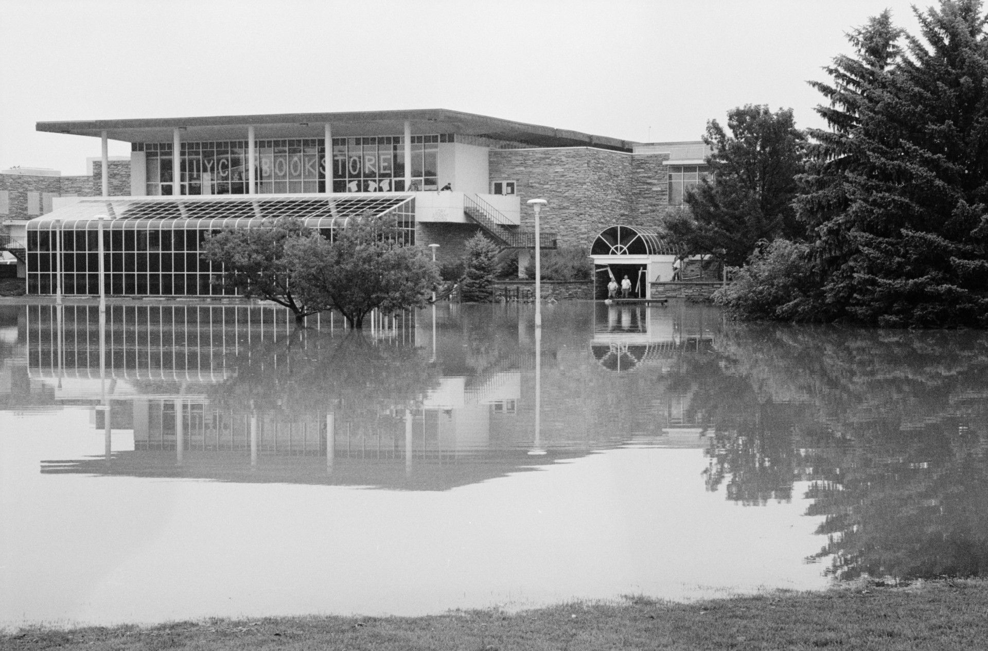 Floodwater on campus