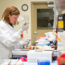 Allison Vilander, Assistant Professor of Microbiology Immunology and Pathology, works to develop a vaccine for the Covid-19 virus. March 31, 2020