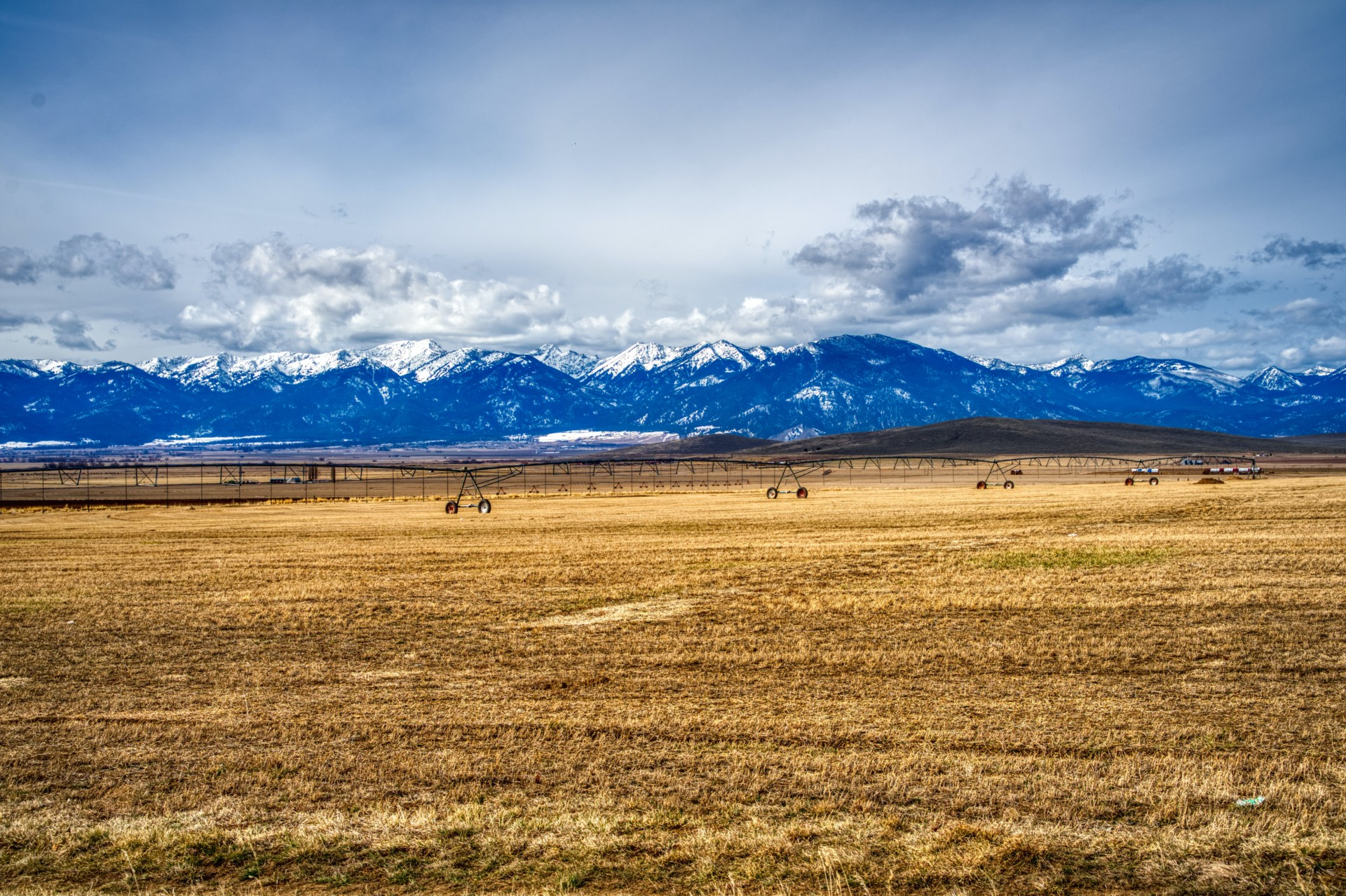 a brown grass field with mountains in the background