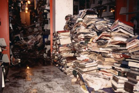 Books at Morgan Library damaged by 1997 flood