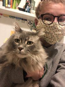 Elizabeth Morris and her cat