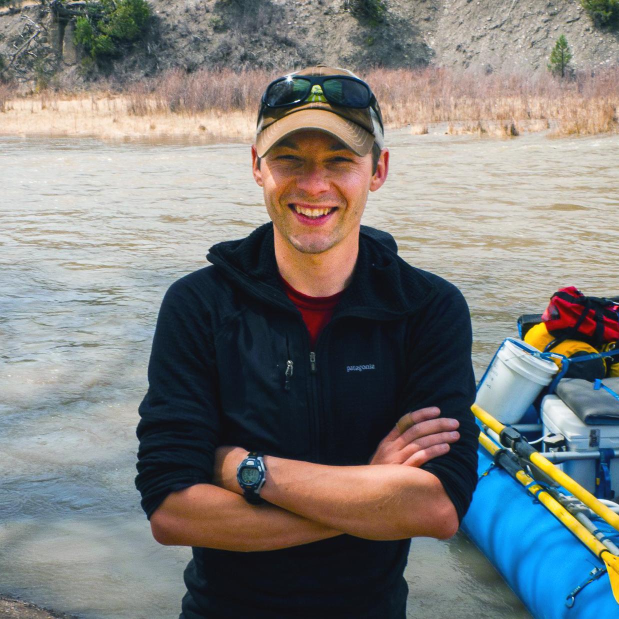 Ryan Morrison preparing for a rafting trip