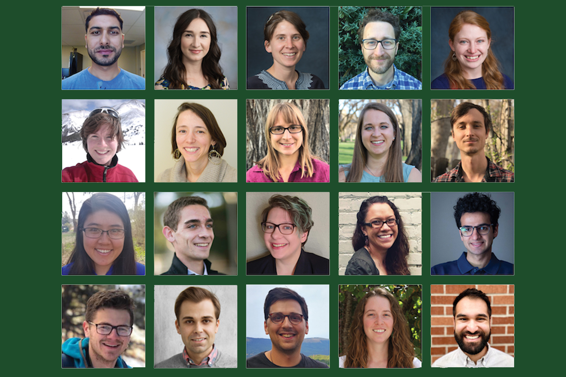 A collage of the new SoGES Sustainability Leadership Fellows