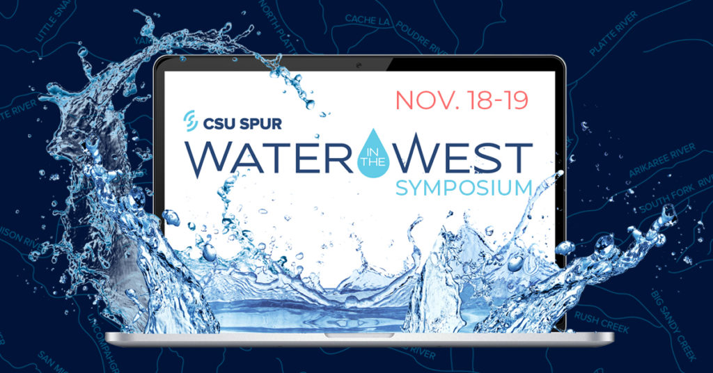 Promotional graphic for the 2020 CSU Spur Water in the West Symposium: open laptop with water splashing from the keyboard, Symposium logo on the screen.