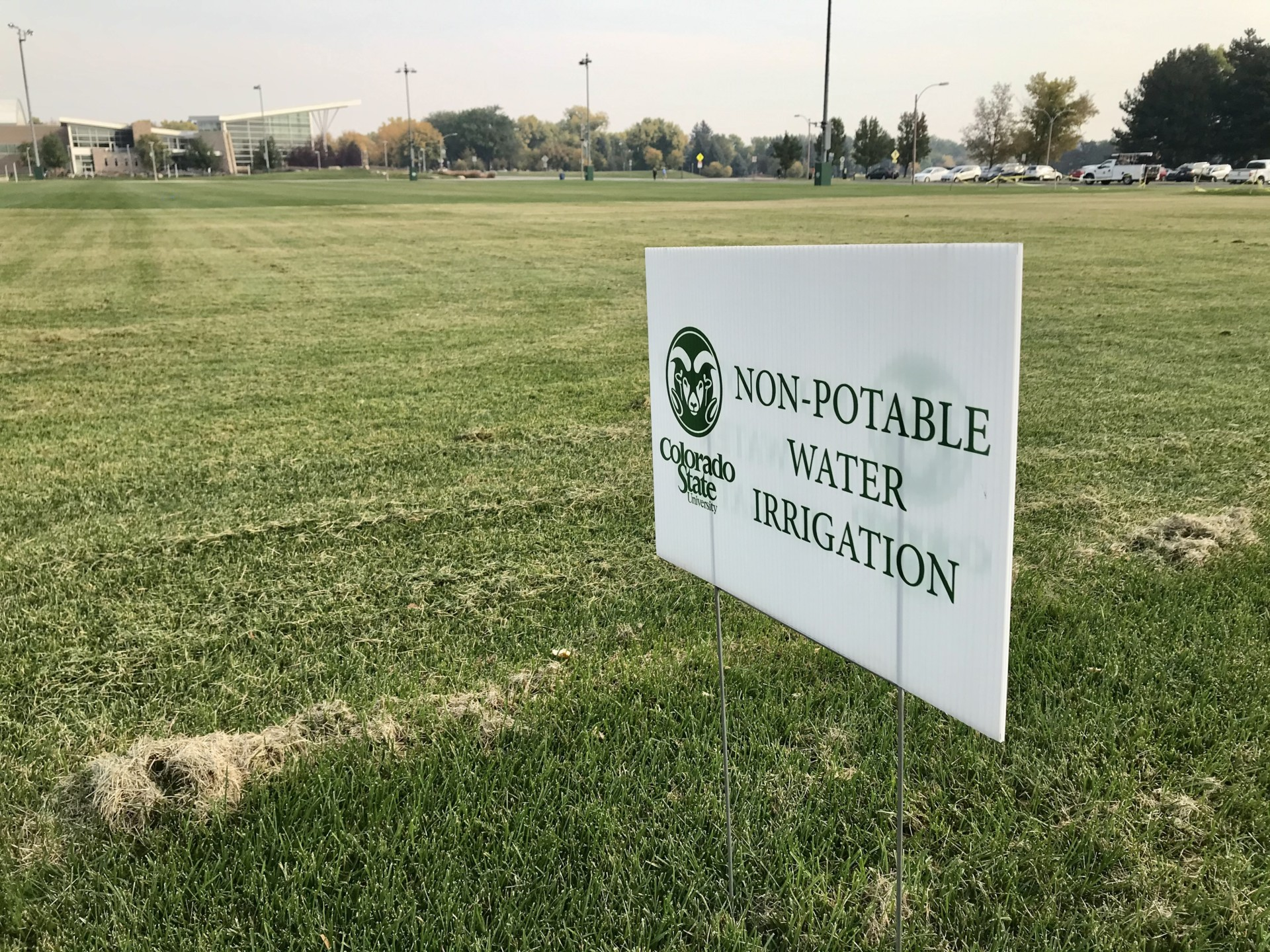 "sign on turf reads, ""non-potable water irrigation"""