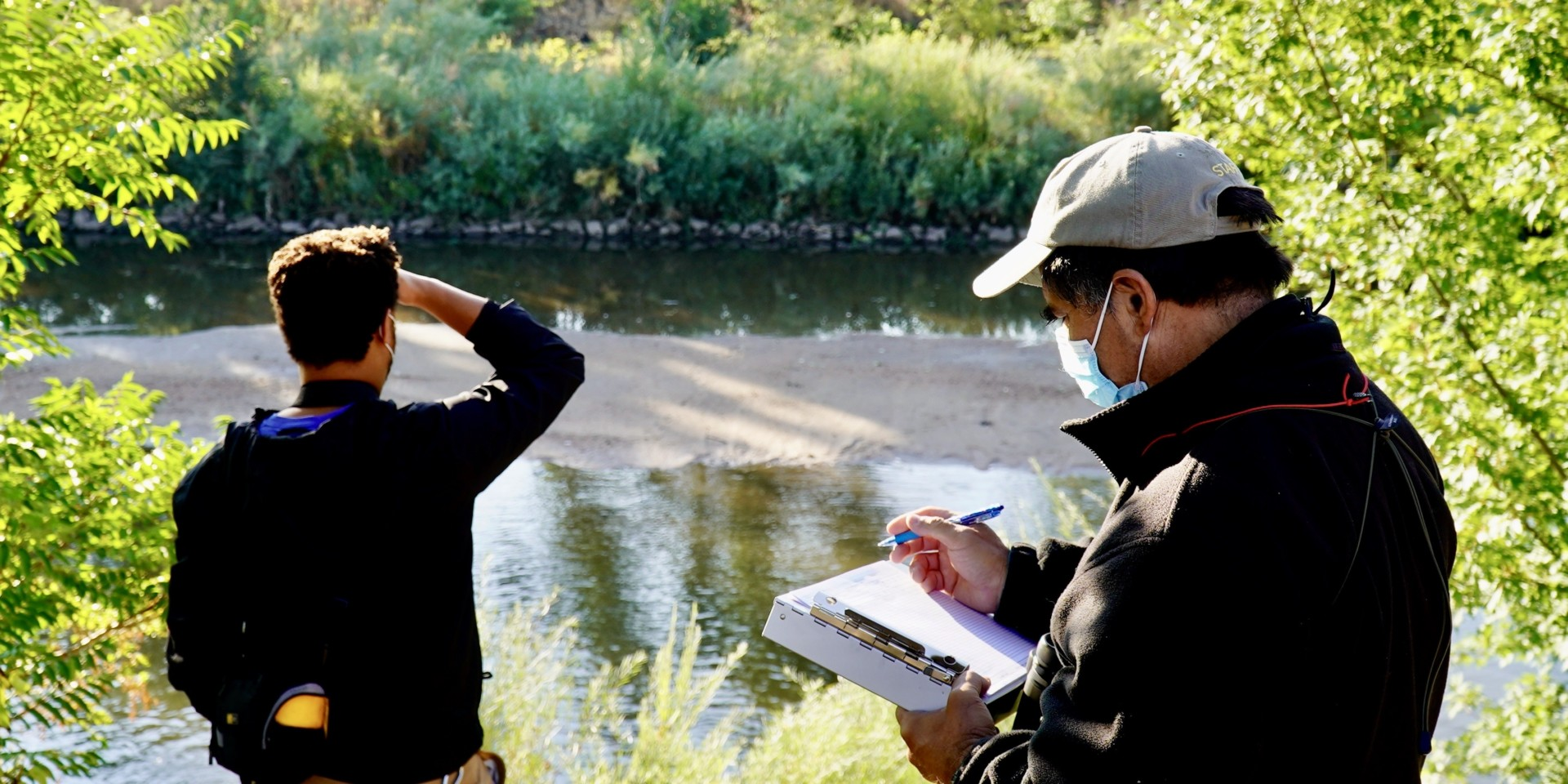 Researchers from the Denver Zoo catalog native bird species on the S. Platte River during the 2020 CSU Spur BioBlitz.