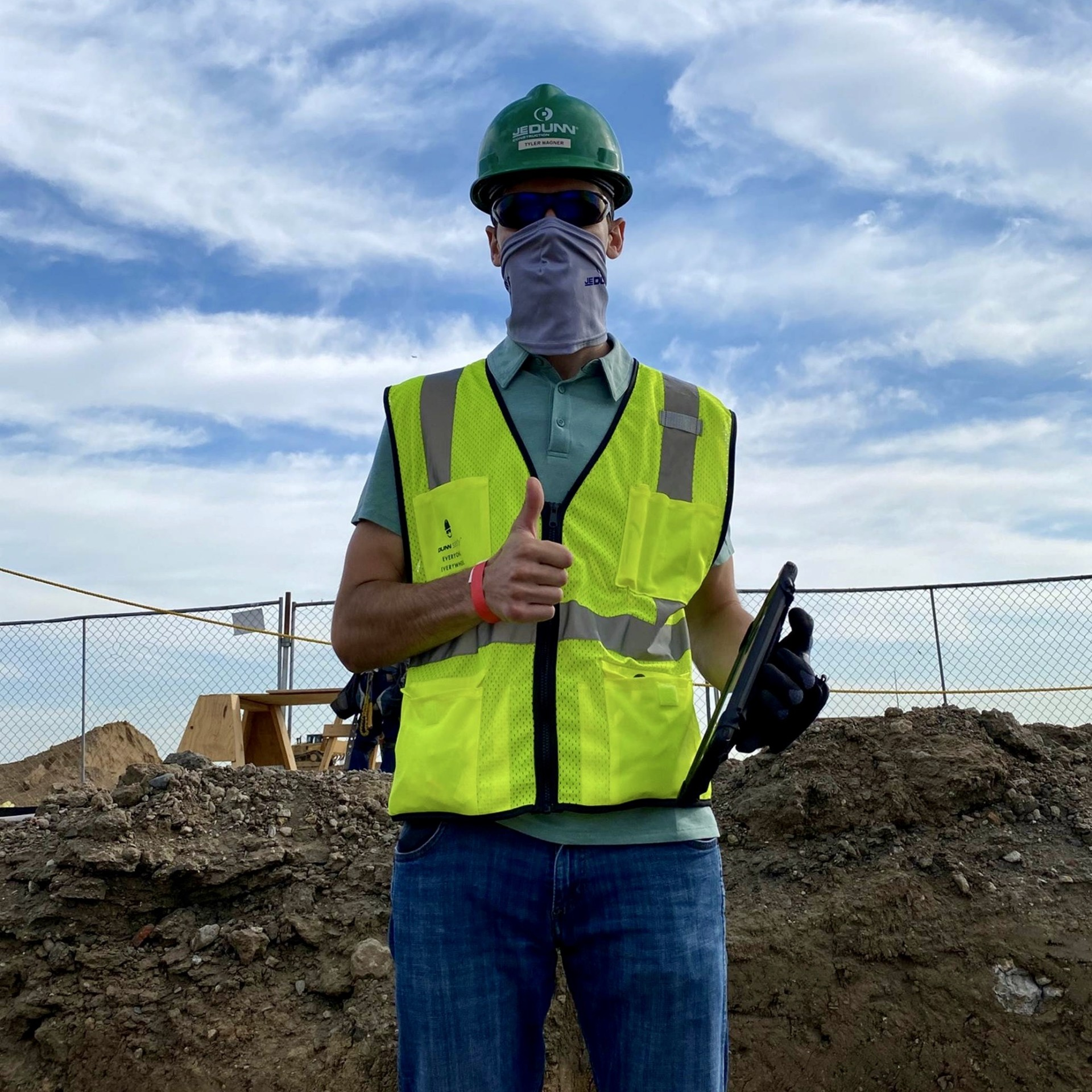 Tyler Wagner, 22, a CSU Construction Management student, poses for a photo at the CSU Spur campus construction site during his summer internship.