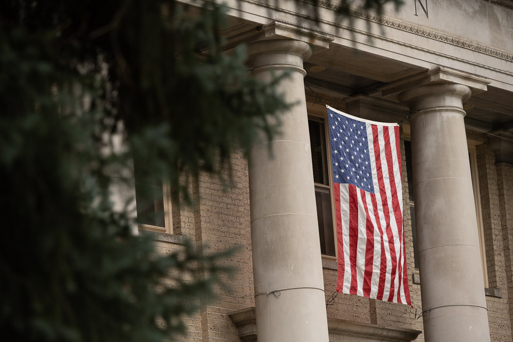American flag on CSU Admin building