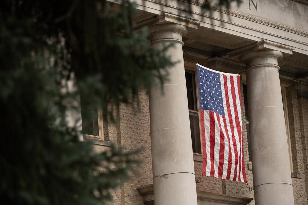American flag on CSU Admin building