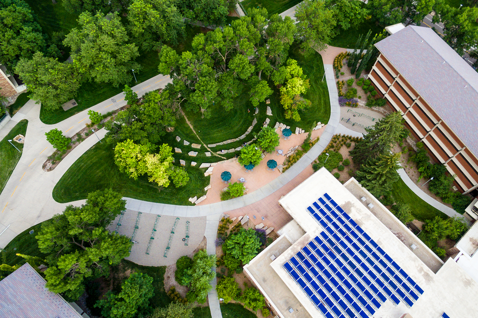 photo from a drone overlooking CSU's campus and solar panels