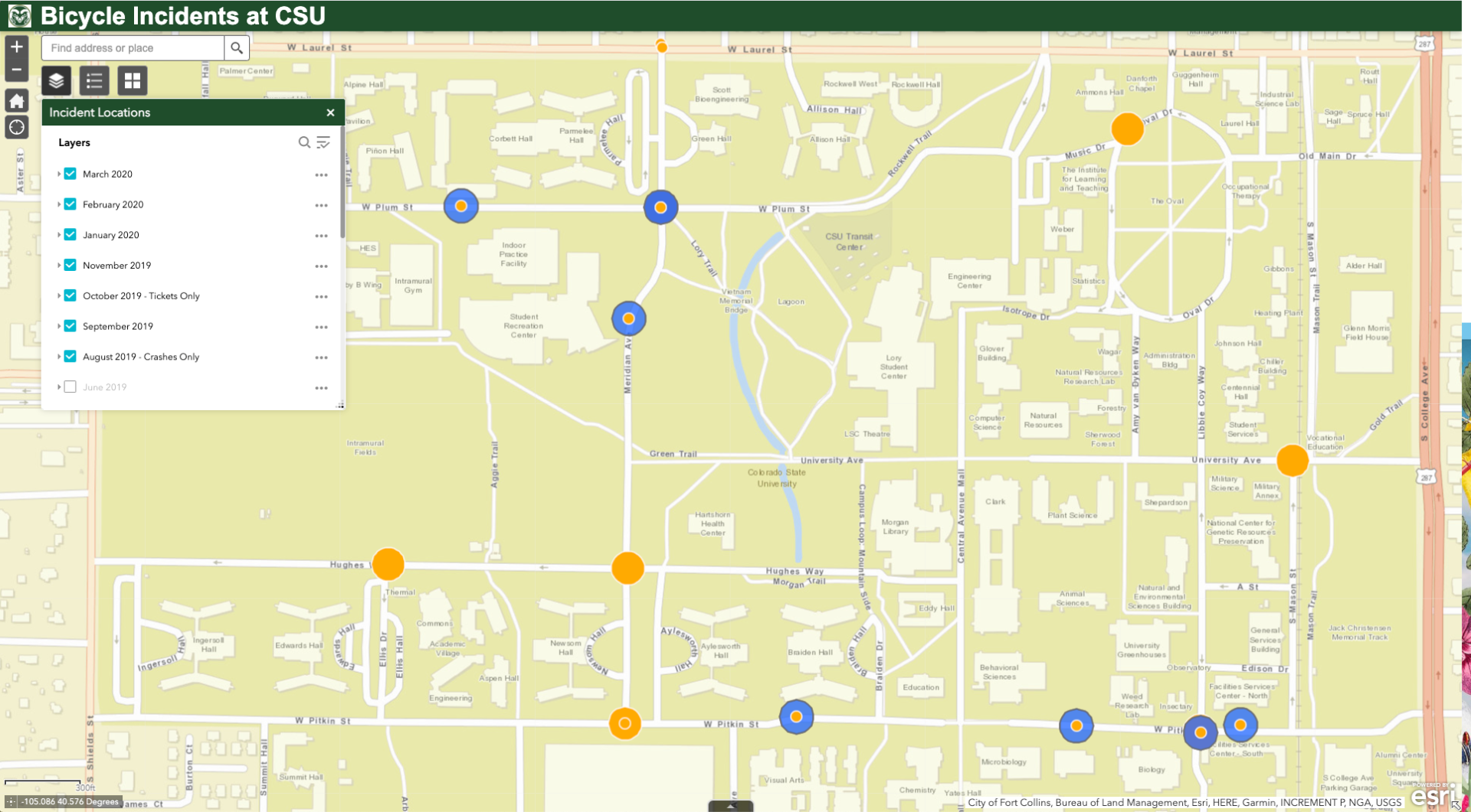 Bicycle incident map from Geospatial Centroid