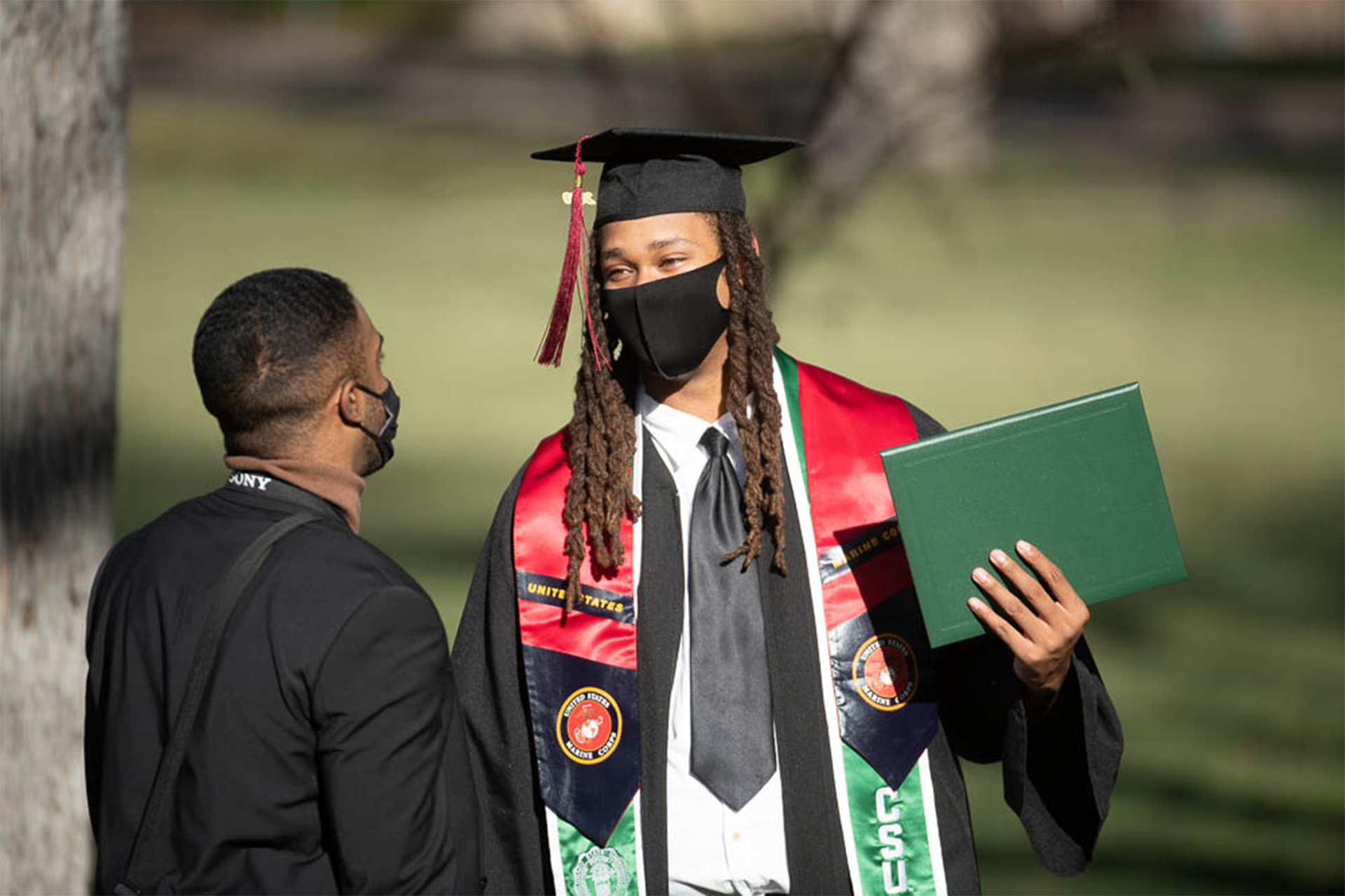 Student graduating on the Oval
