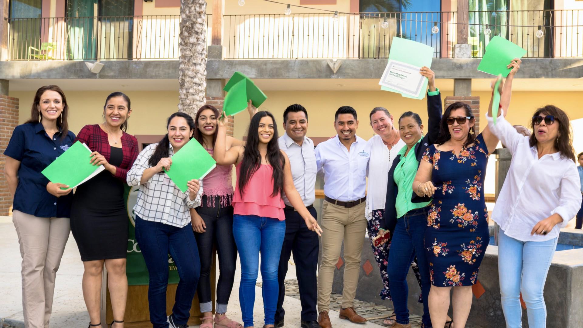 CSU Todos Santos Center staff join English program participants during Fall 2019 graduation ceremony.