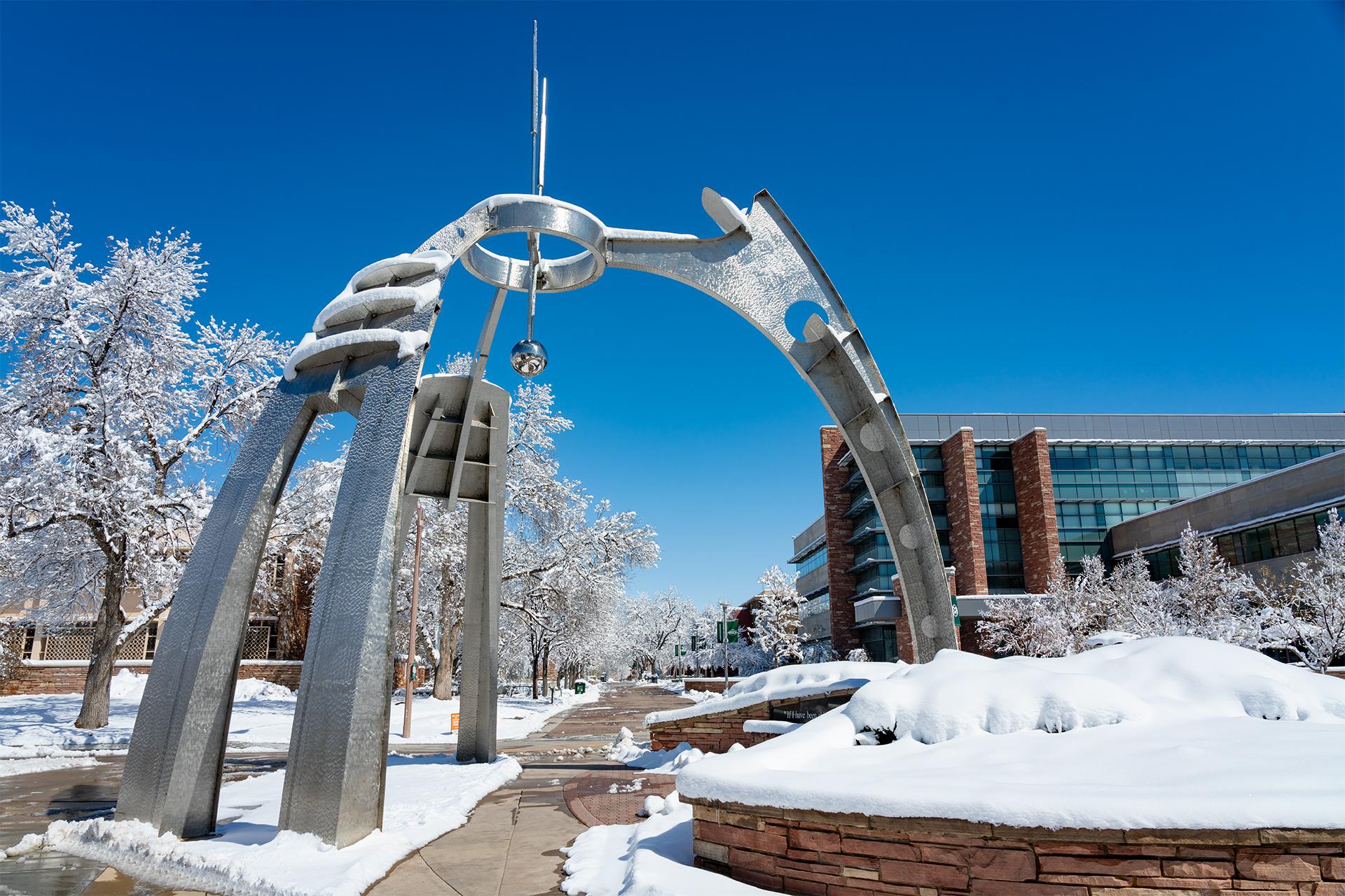 CSU campus with snow