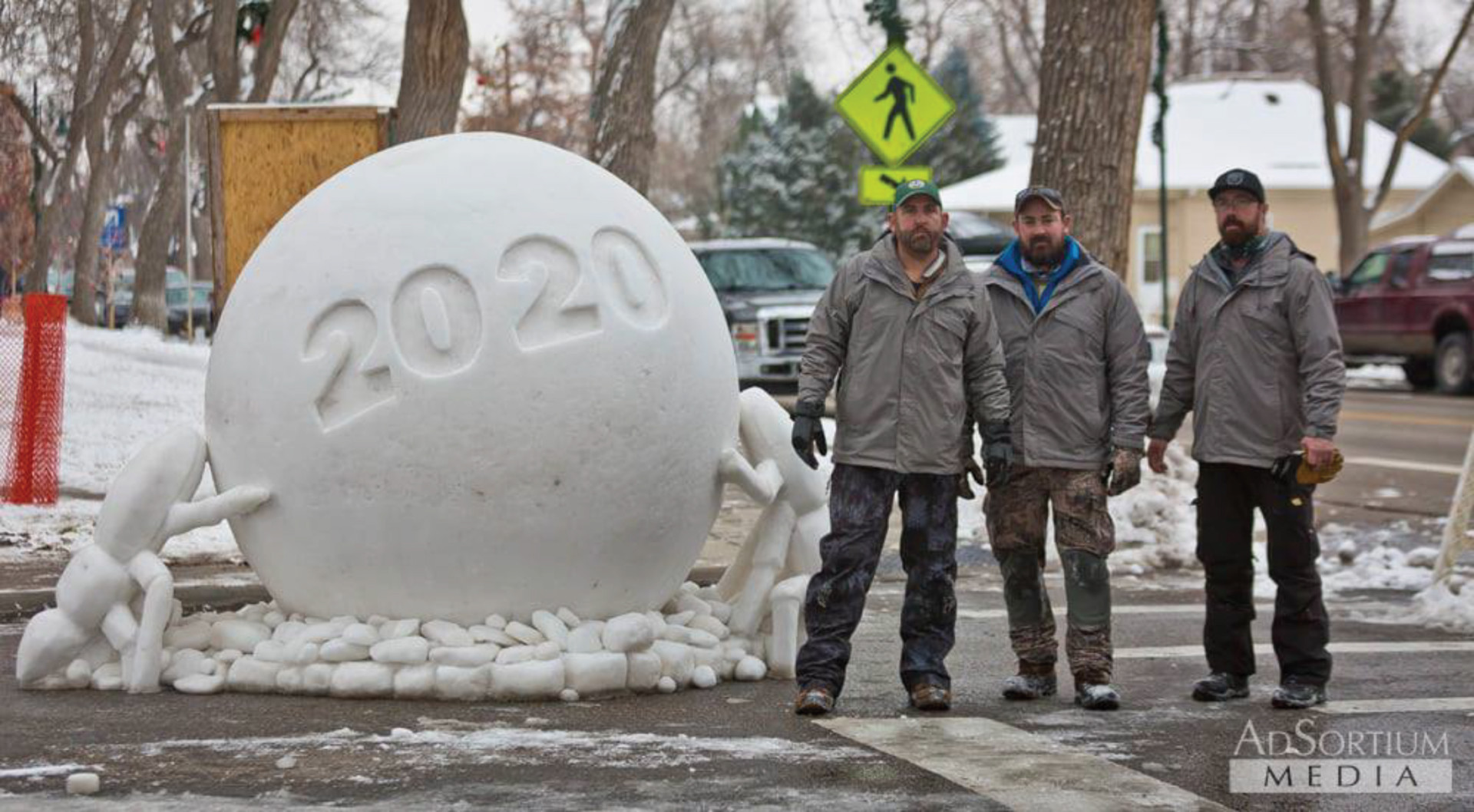 Dung Beetle snow sculpture