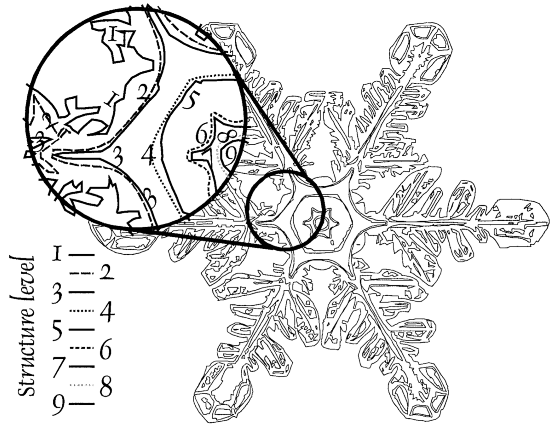 Scientific drawing of snowflake