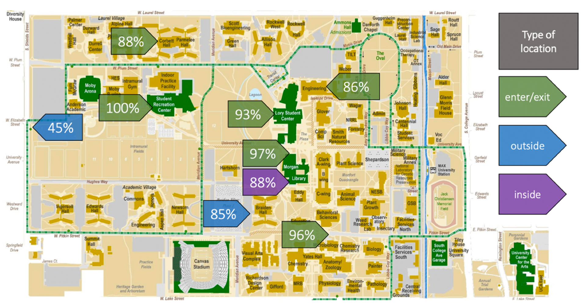 CSU Map showing percentages of mask wearing on campus
