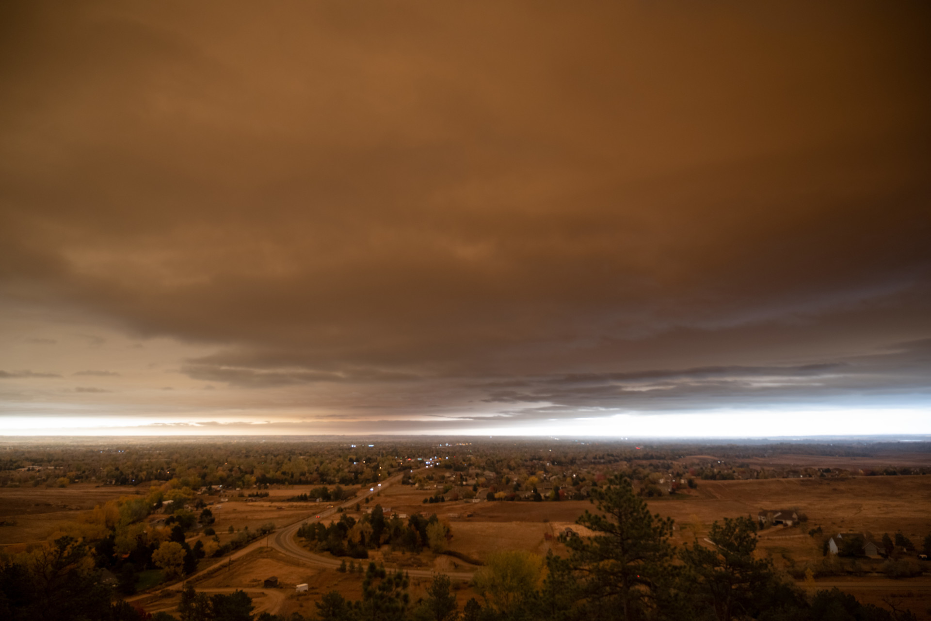 A plume over smoke over Fort Collins from Cameron Peak and East Troublesome wildfires