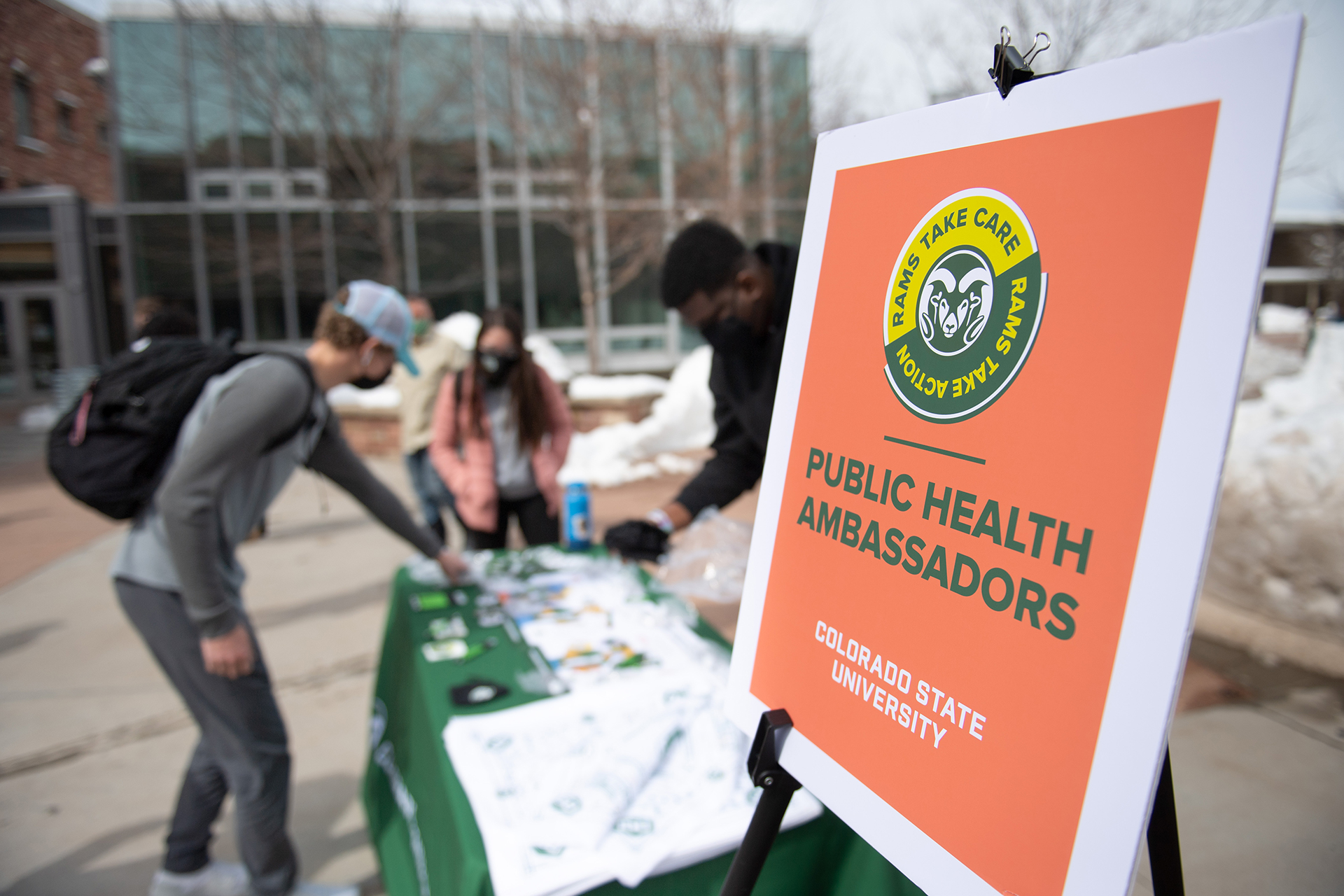 CSU Public Health Ambassadors near the Clark Building