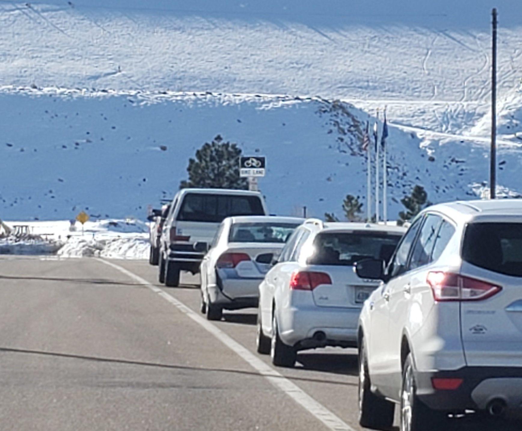 Cars parked in bike lane