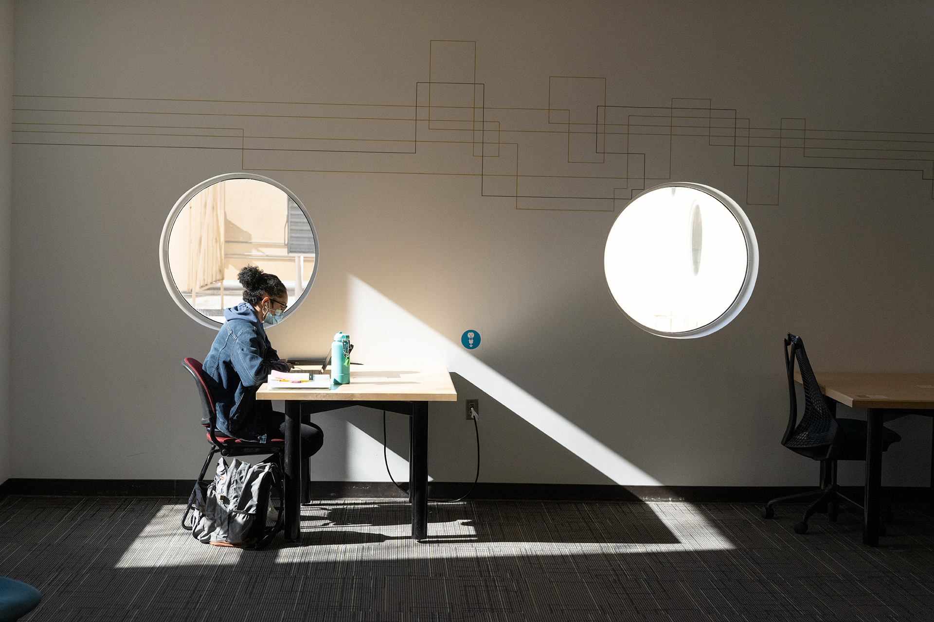 Student Studying in Morgan Library