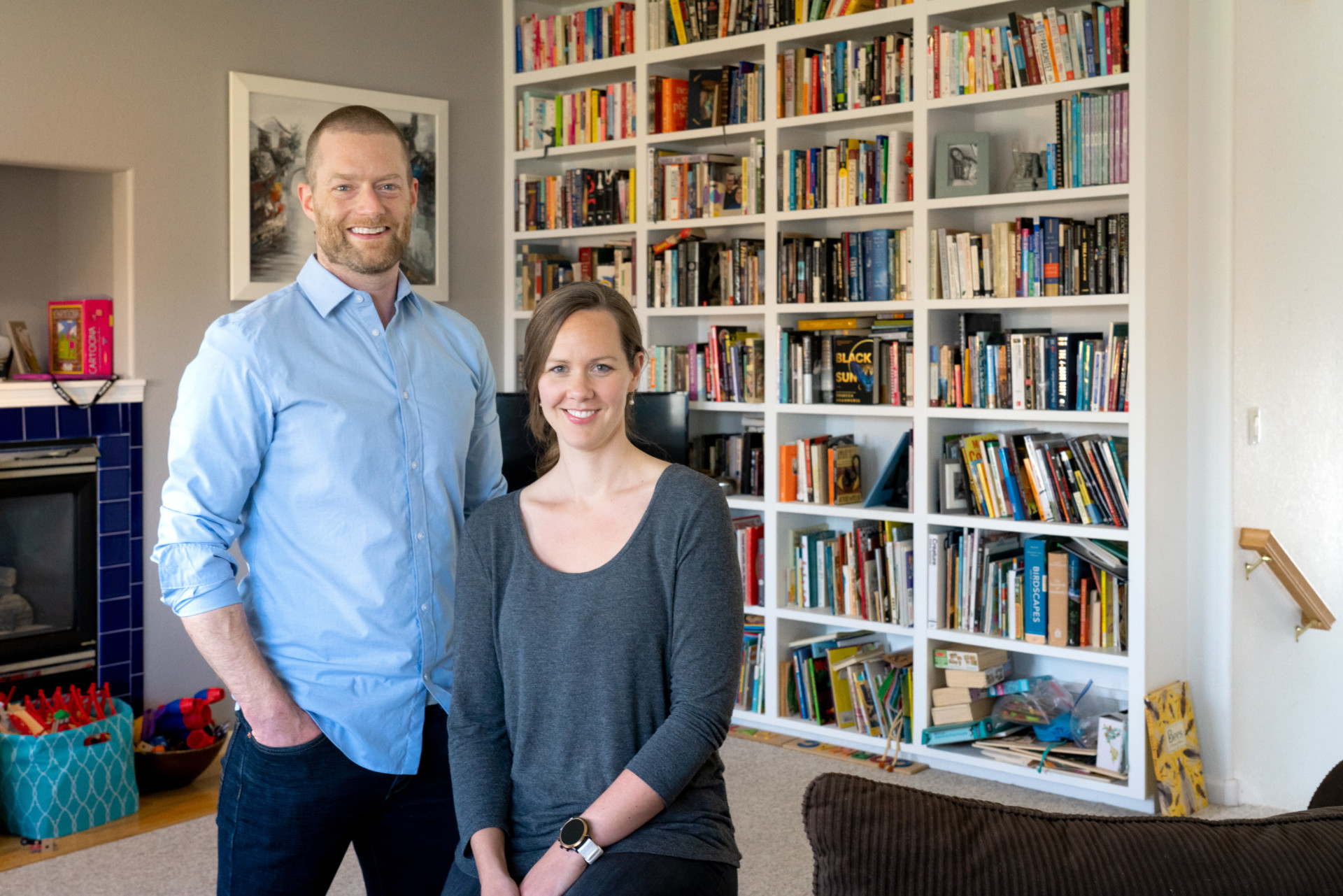 Patrick Keys and Elizabeth Barnes in their home in Fort Collins