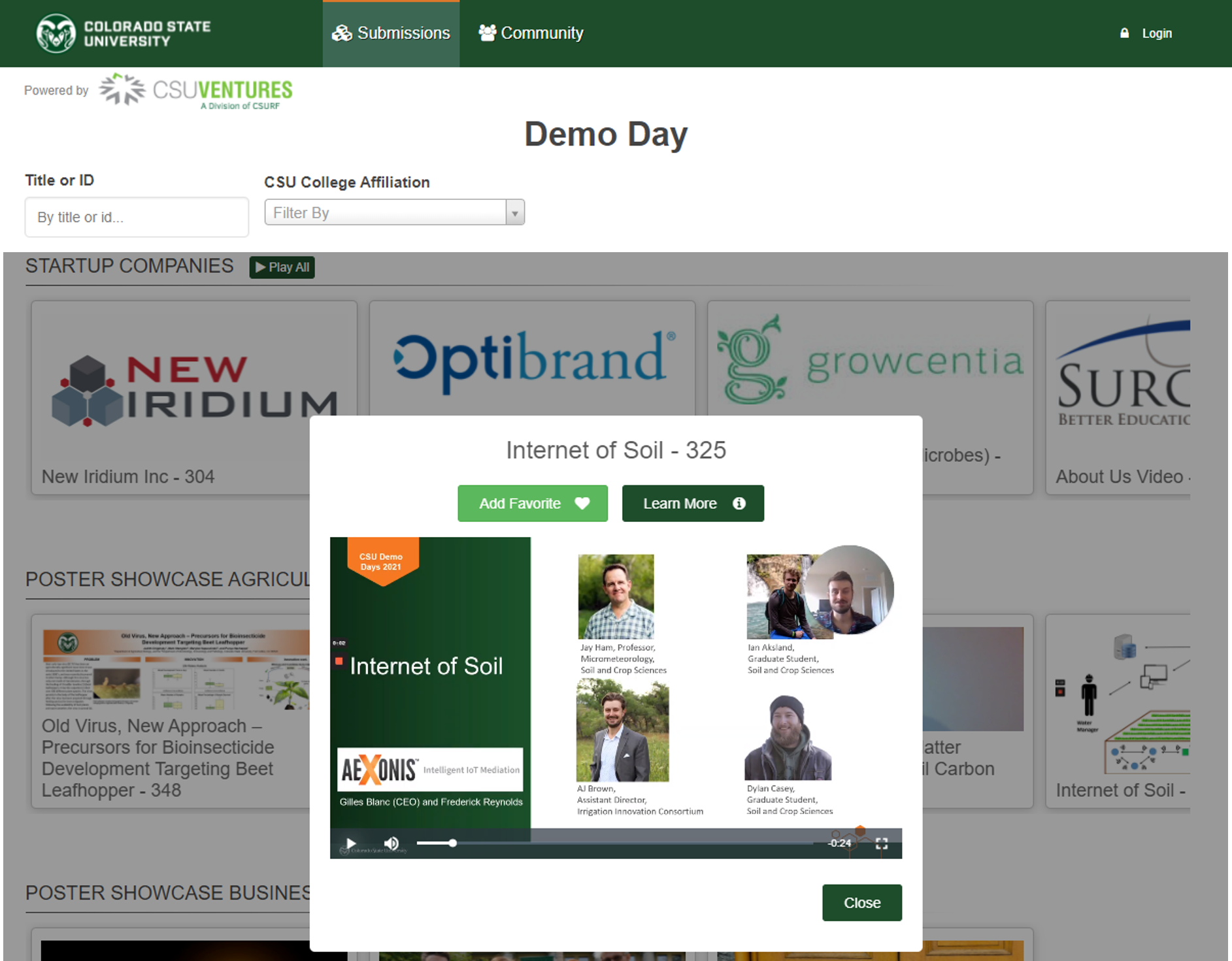 Screen shot of CSU Ventures Demo Day