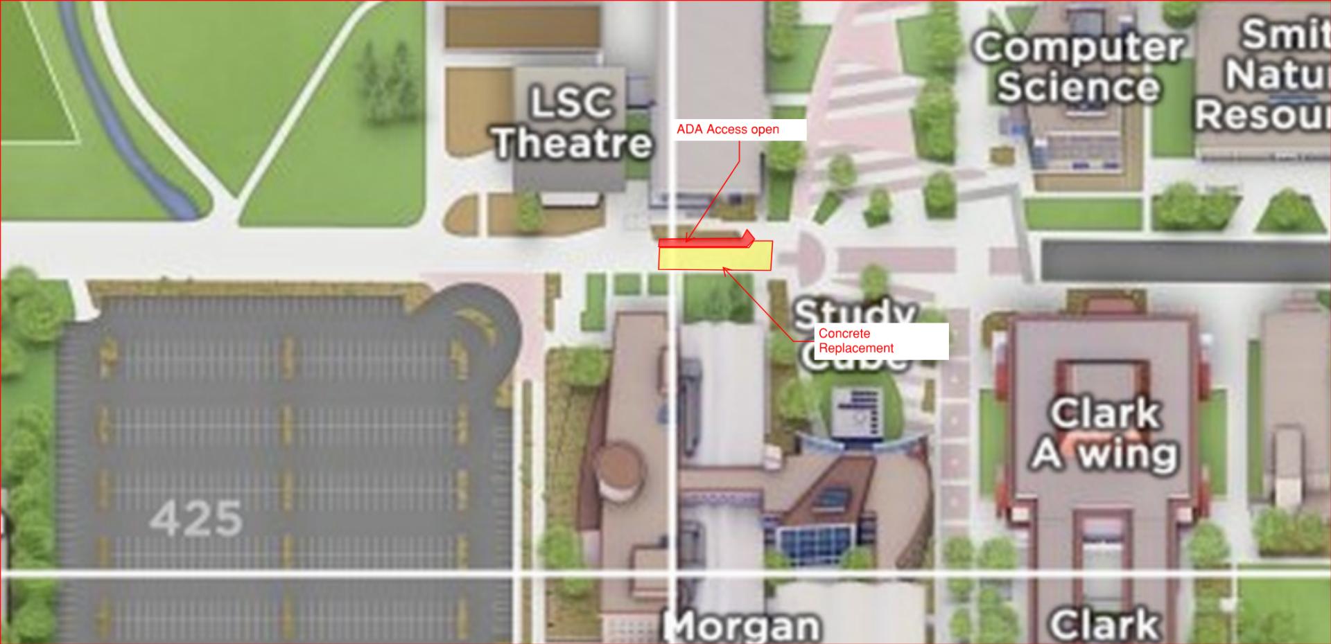 CSU Plaza map sidewalk closure