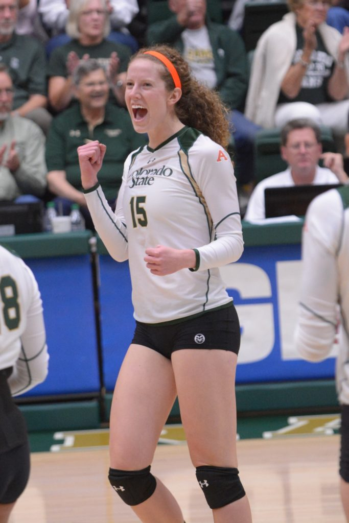 Marlee Richburg playing volleyball for CSU