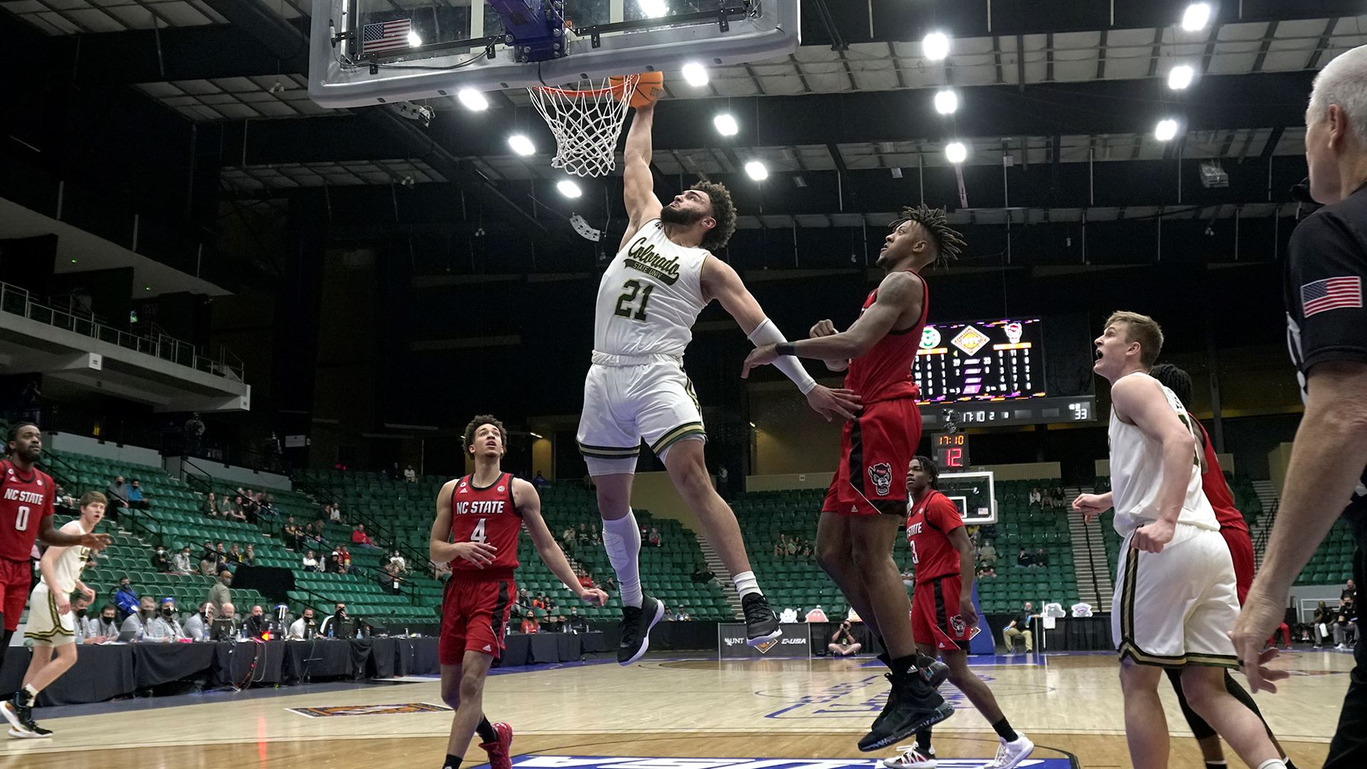 CSU basketball player David Roddy gets a bucket in a 65-61 win over North Carolina State in the National Invitation Tournament.