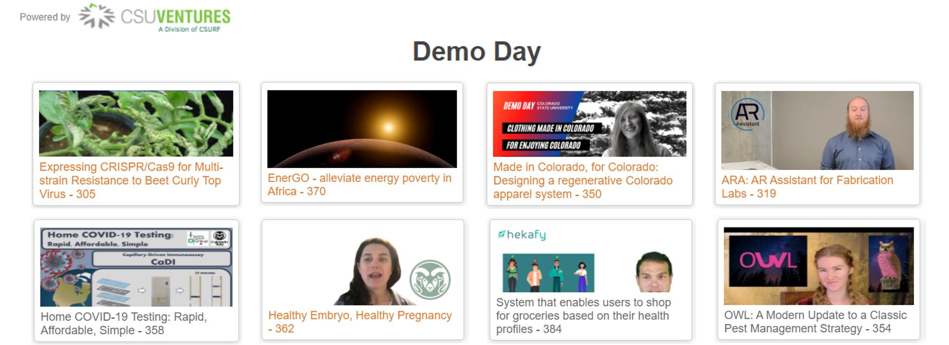 CSU Demo Day 2021 winners website