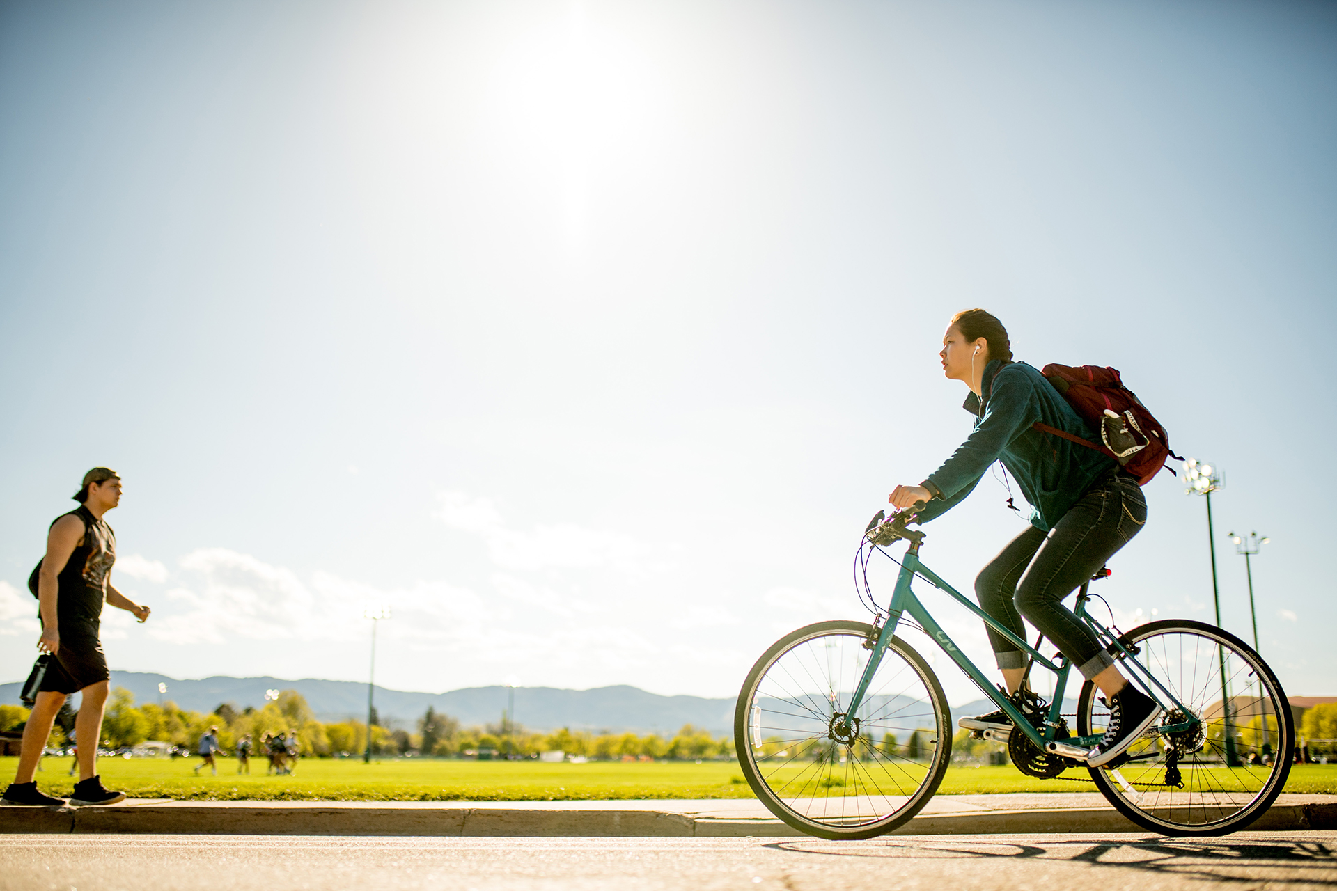 student on bicycle