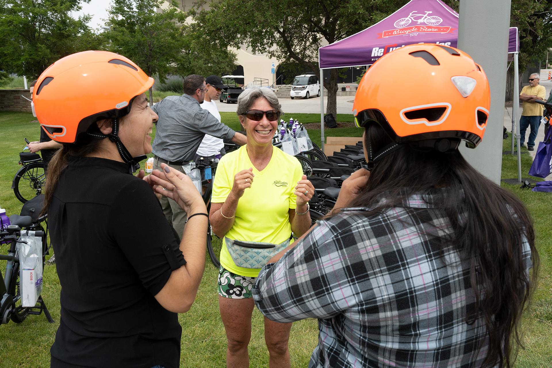CSU employees put on orange helmets