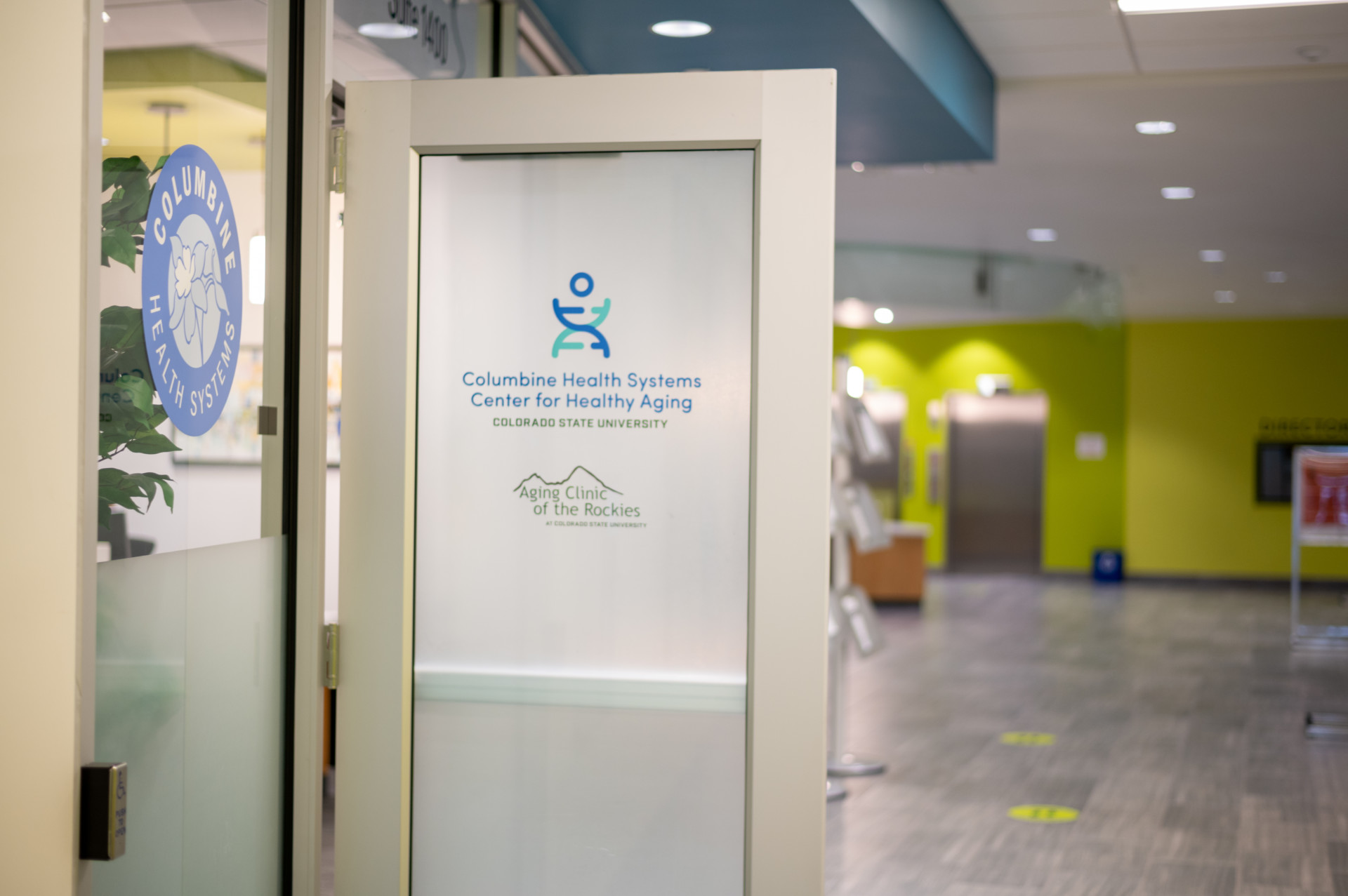 Front door of Columbine Health Systems Center on Health Aging