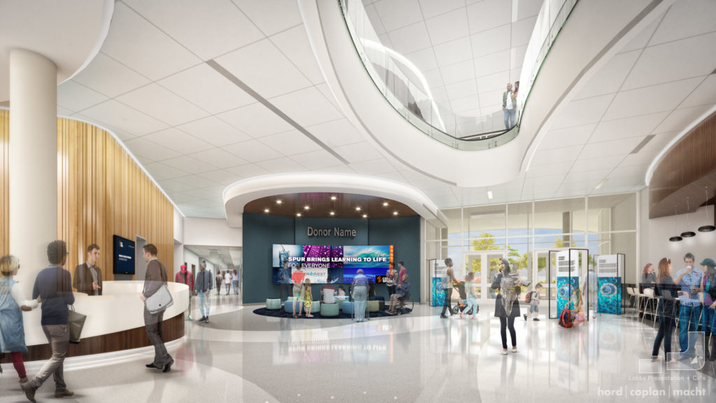 Rendering of the lobby at Hydro
