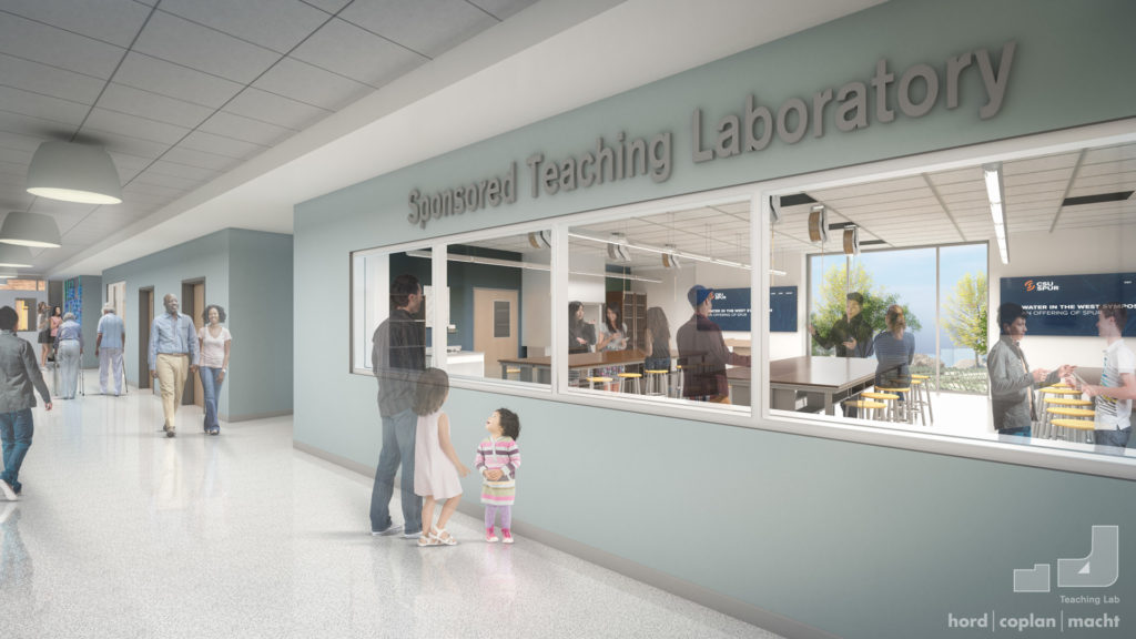 Rendering of a hallway looking into lab space at Hydro