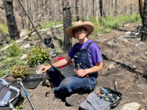 Stephanie Kampf at a research site in the Poudre Canyon