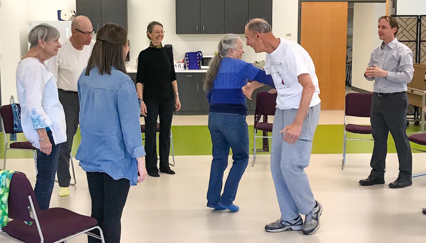 Older adults dancing
